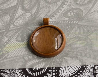 Pendant blank hardwood fine finished - 35 mm cavity - Mahogany - (Z353c-M) - Organic Bail