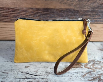 Yellow Waxed Canvas and Leather Zipper Pouch/ Coin Pouch/ Canvas Zipper Bag/ Canvas Bag/ Travel Organizer/ iPhone Organizer