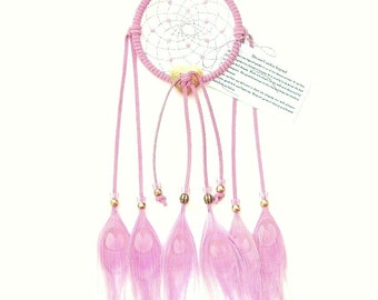 Pink Dream Catcher, Peacock Eyes Feathers