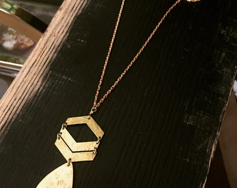 Loretta - Solid Brass Chevron Teardrop Necklace - handforged, solid brass chain - layering necklace - Chevron Jewelry - free shipping