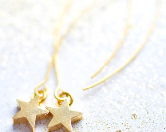 Tiny Gold Star Dangle Earrings, Little Star Earrings, Dangle Star Earrings, Gift For her, Gold star earrings