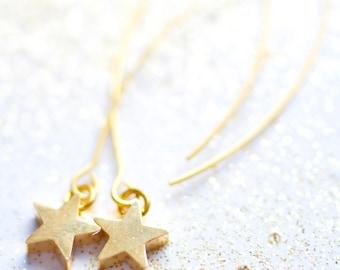 Tiny Gold Star Dangle Earrings, Little Star Earrings, Dangle Star Earrings, Gift For her, Gold star earrings