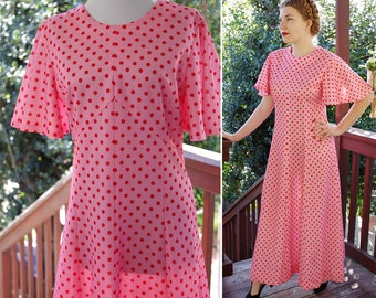 STRAWBERRY 1960's 70's Vintage Pink + Red Polka Dot Long Polyester Maxi Dress w/ Bell Sleeves // size Medium