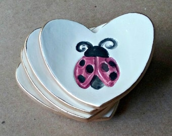 FOUR Ceramic Heart ring bowls With Gold Edge  2  1/2 inches  itty bitty ladybug