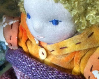 WEIGHTED Waldorf Baby Doll, with Hand Knit  Baby Cocoon READY 2 SHIP