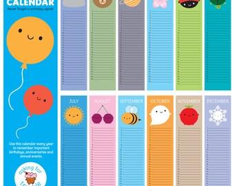 Look Around Birthday Calendar - kawaii wall calendar for every year