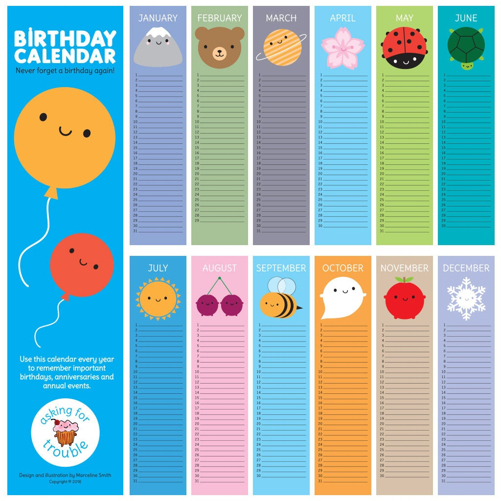 Birthday Calendars : Look around birthday calendar kawaii wall for every