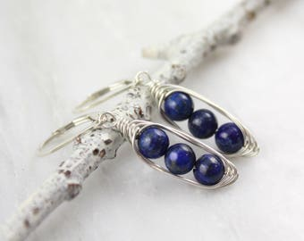 Wrapped Lapis Pod Silver Earrings