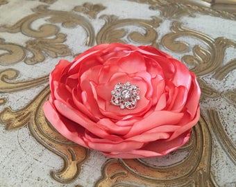 Peach Flower Hair Clip.brooch.pin.headpiece.bridesmaid.hair accessory.light orange.dark peach.hair piece.satin flower.wedding.flower girl