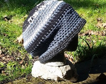 Hippie Handmade Crochet Tam Slouch Hat Dreadlock Cap ~Blue Grey and Black~