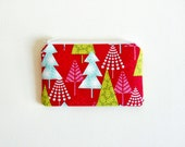 Small Zipper Pouch, Coin Purse, Women and Teens, Christmas, Forest in Red, Hip Holiday