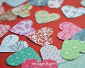 Paper Cut Hearts - set of 25 - multicolor - scrapbooking - card making - confetti