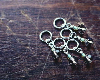 SALE***** Sage Advice - Green - Knit or Crochet - Stitch Markers or Place Holders (#9, #10, #11) - Set of 5