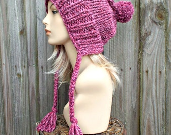 Wild Strawberry Pink Slouchy Hat Pink Knit Hat Pink Womens Hat Pink Hat Pink Beanie - Charlotte Slouchy Ear Flap Hat