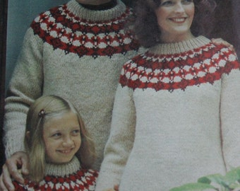 Sweater Knitting Patterns Women Men Children Hoodie Tunic Stitchcraft Magazine November 1975 Vintage Paper Original NOT a PDF