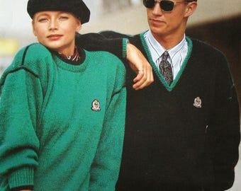 "Sweater Knitting Pattern Men Women Jakobsdals 5672 Swedish English Sizes 30 - 46"" 76 - 116 cm Original NOT a PDF"