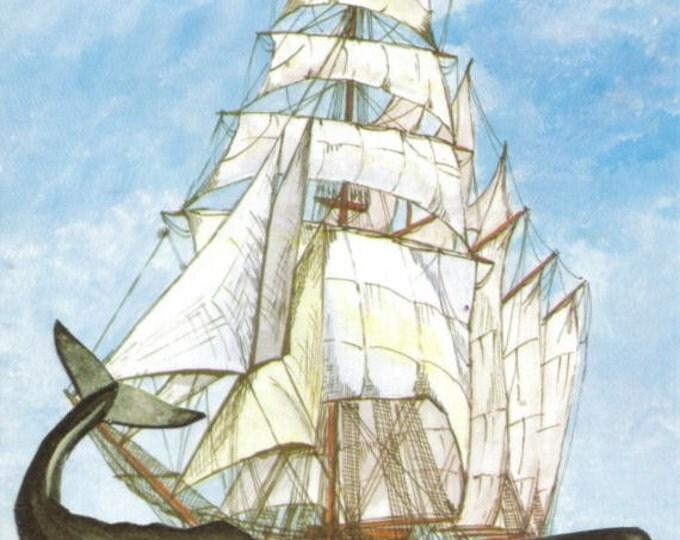 Nautical Whale Art, Marine Mammal Artwork, Ocean Animal Collage