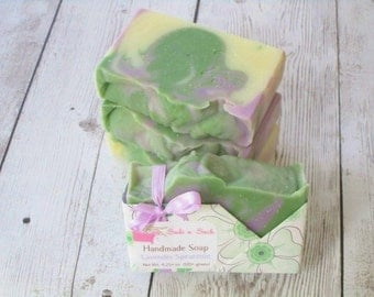 Lavender Spearmint Essential Oil Soap - Artisan Swirls - Colorful - Cruelty Free - Phthalate Free