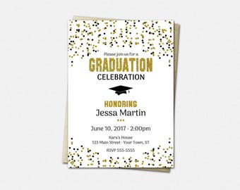 Graduation Invitation - High School Graduation Invitation - College Graduation Invitation - Color Choice - Gold Graduation Party Invitations