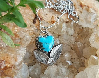 Carved Kingman Mine Turquoise & Sterling HEART Necklace