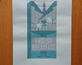 English Breakfast tea box screen print