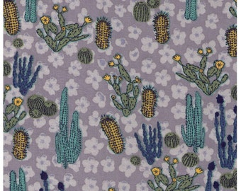 HALF YARD Yuwa - Cactus on GREY - Succulent, Southwestern, Cactus, Birds, Stripes, Flowers, Leaves - Imported Fabric from Japan