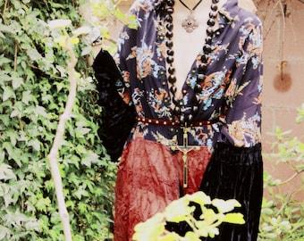 Beautifully Oversized Velvet & Sheer Kimono Princess Jacket Ooak