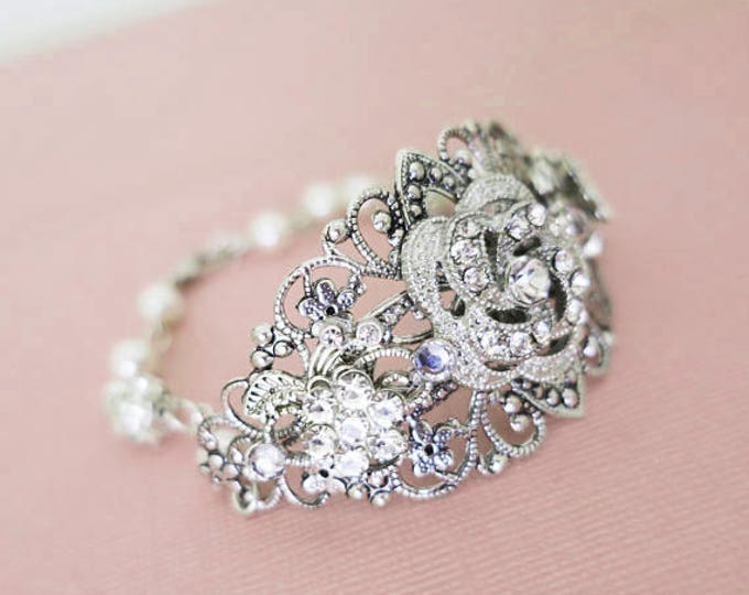 Pearl and Crystal Cuff Bracelet