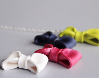 Bow Necklace / Statement Necklace / Girls Preppy Bow Tie Pendant Necklaces / More Colors Available / Gift for Her
