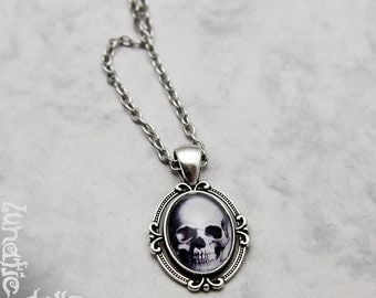 Skull Necklace Fashion Jewelry Pendant Glasscabochon Handmade small petite vintage anatomical goth gothic steampunk Skulls Vampire Monster