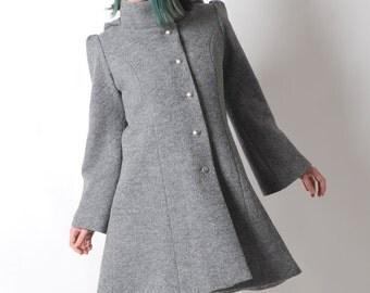 Grey wool coat, Grey womens coat with pixie hood, Grey hooded winter coat, virgin wool coat, sz UK 14 or custom