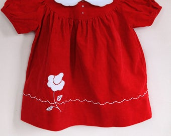 Vintage Toddler Dress / Red Velvet Toddler Dress / Vintage Nannette Toddler Dress / Size 24 Months