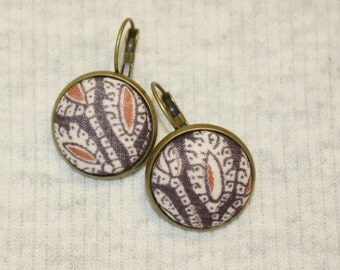 Tribal Batik Earrings Eco Friendly Upcycled Fabric Button Dangles India Style Black and Tan