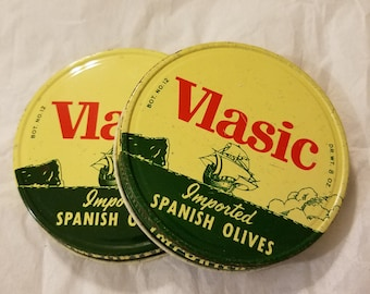 2 vintage Vlasic spanish olive wide mouth metal advertising lids mason screw tops imported olives green red canning grocery packer jar cover