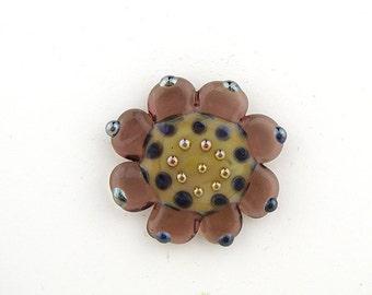 Studio Button / Art Glass / shank style button / flower button / lampwork button / glass jewelry clasp
