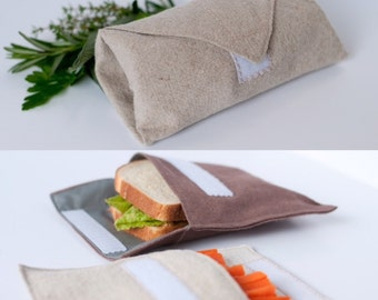 Hemp lunch savings pack: sandwich/snack bag set & burrito/wrap/sandwich wrap--FREE SHIPPING