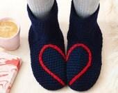 Slipper Socks, Love Heart Design, Gray, Navy Blue, Red, Plum, Handmade, Crochet