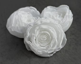 White Wedding Flowers - fabric roses, bouquet flowers, corsage flowers, DIY weddings, bridal flowers, wedding decor, silk flowers, sew on