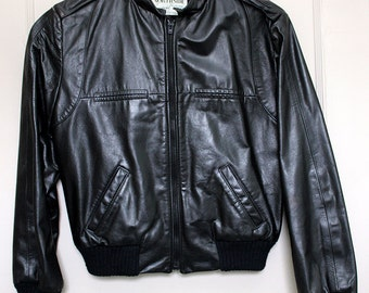 Vintage Ladies' Black Leather Flight Bomber Jacket w Zipper Side Pockets Retro Biker Moto 1980s Northside Leather USA Ladies' Size Small