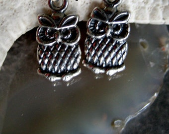 Whimsical 925 Silver tiny Owl earrings-Oxidized silver Earrings-Owl charm earrings- Rustic Bird earrings-lucky Bird-Dove-for her under 25