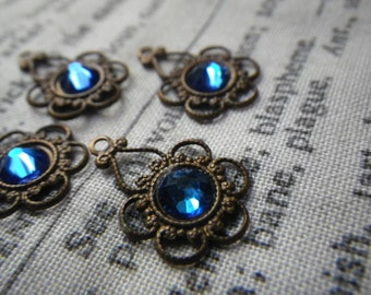 Floral Filigree with Swarovski Bermuda Blue 20ss Chatons Brass Ox Drops 4 Pcs