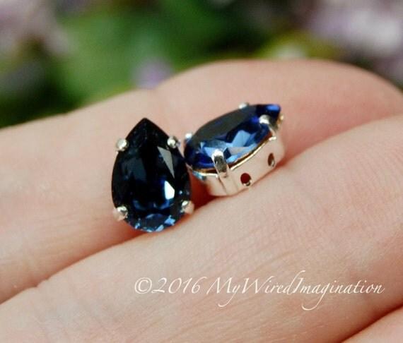 Swarovski Montana, Sapphire Blue, 10x7mm, 2 Pieces, 4320 Pear Shape, Sew On Setting Silver or Gold Plated Setting Rhinestone Crystal Setting