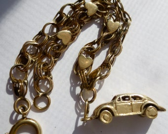 Vintage 14K Volkswagen Beetle Charm  14K Gold Moving Wheels on 12K GF Heart Bracelet  Vintage 1969