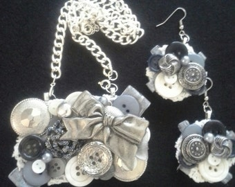 Assemblage Statement Button Necklace and Earring Set, Silver and Gray Tones, Vintage Inspired