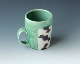 Green Sugarcane Candy Mug - ceramic porcelain clay cup with candy and cane plant - handmade wheel thrown pottery