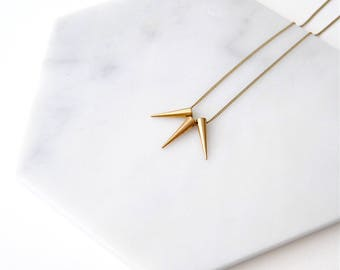 Tiny Spikes Necklace. Minimal Layering For Girlfriend. Gold Points Daggers. Brass Studs Edgy Jewelry. Simple Dainty Delicate. Spiked Chain.
