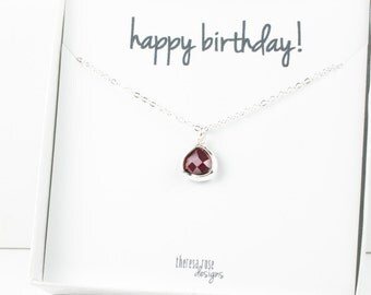 Tiny January Birthstone Silver Necklace, Garnet Necklace, Silver Necklace, January Birthday Gift, Bridesmaid Jewelry, Gifts Under 20