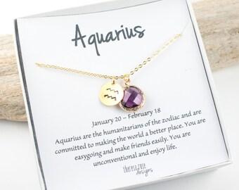 Aquarius Zodiac Gold Necklace, Aquarius February Necklace, February Birthday Jewelry, Zodiac Necklace, Astrology Gold Necklace