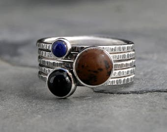 Earth Sky Stacking Rings, Mahogany Obsidian Lapis Lazuli Black Onyx, Sterling Silver Stack, Set of Five Ring 5 Stackable Rings Rustic Finish