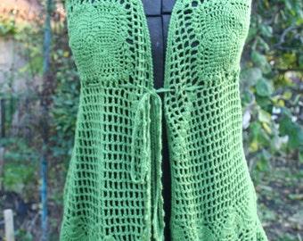 Green crochet hippie vest shirt top boho tunic vest